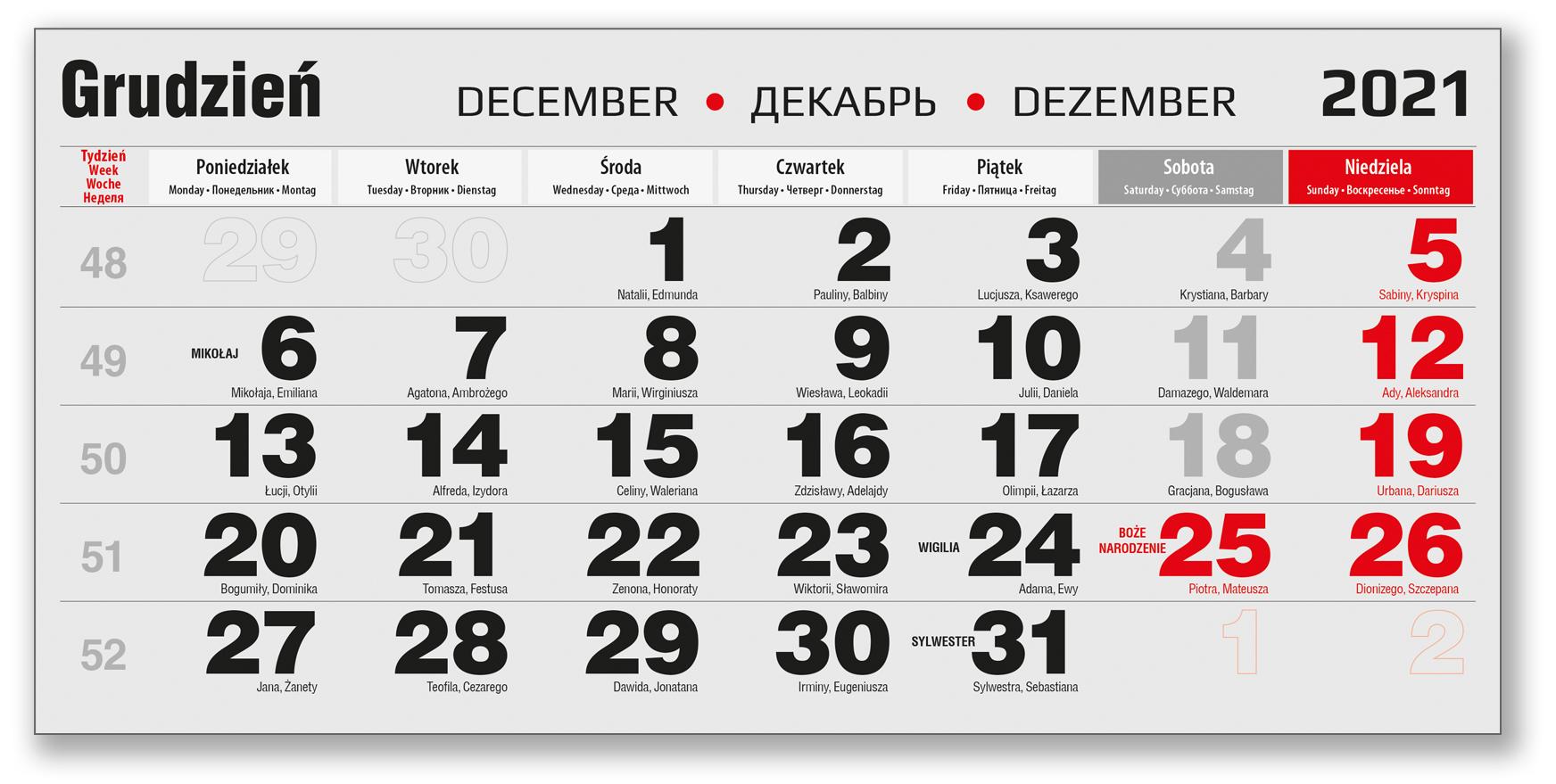 kalendarium trójdzielne czarne grudzień