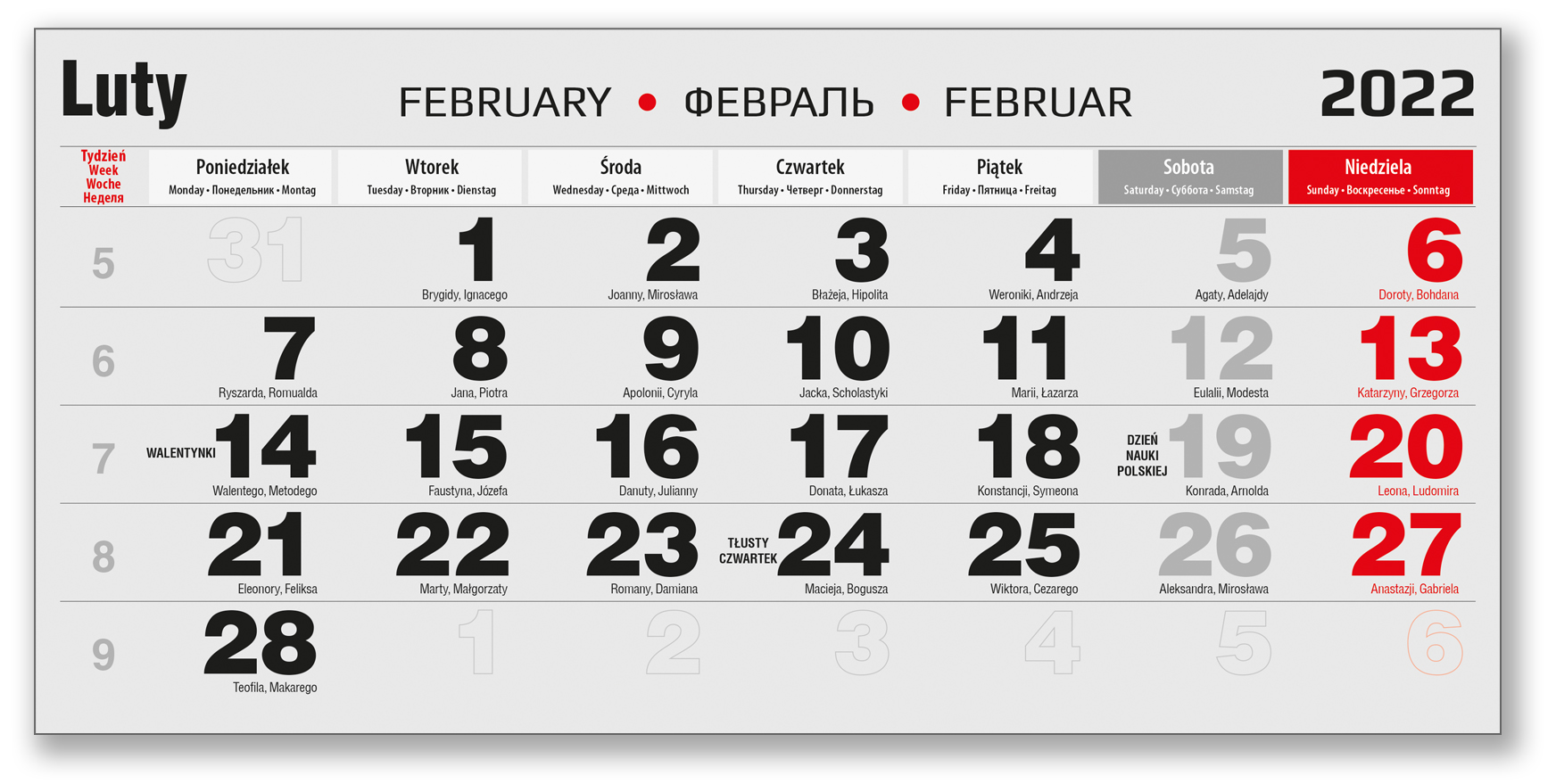 kalendarium trójdzielne czarne luty