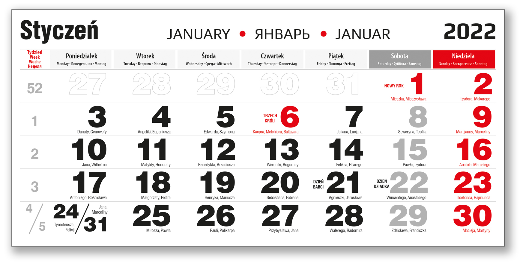 kalendarium trójdzielne czarne styczeń