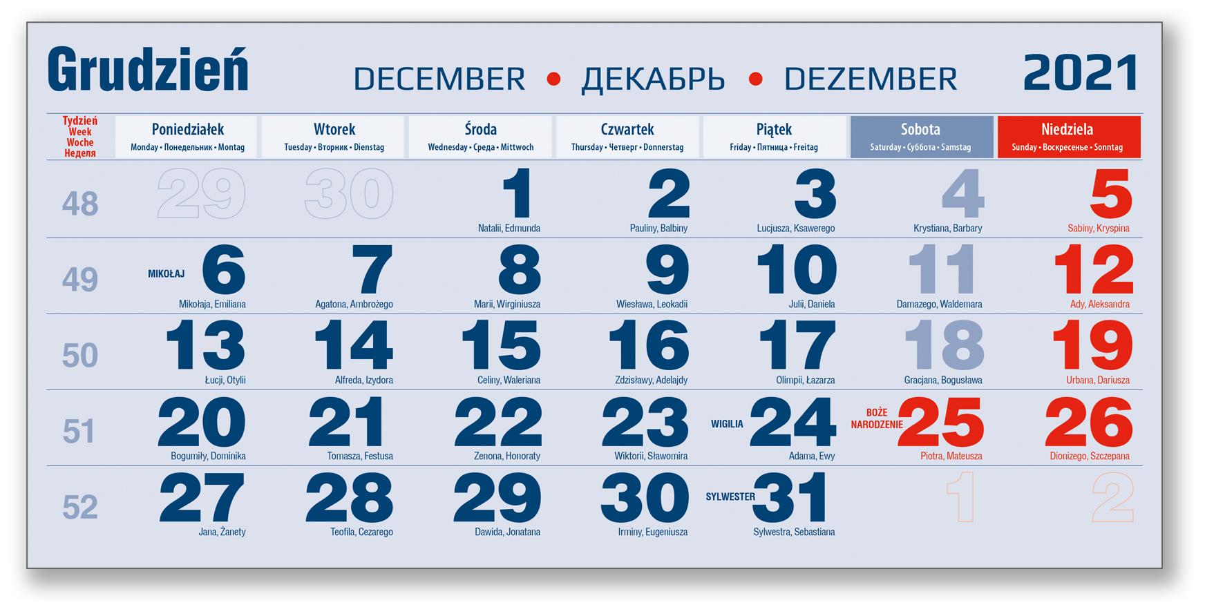 kalendarium trójdzielne niebieskie grudzień