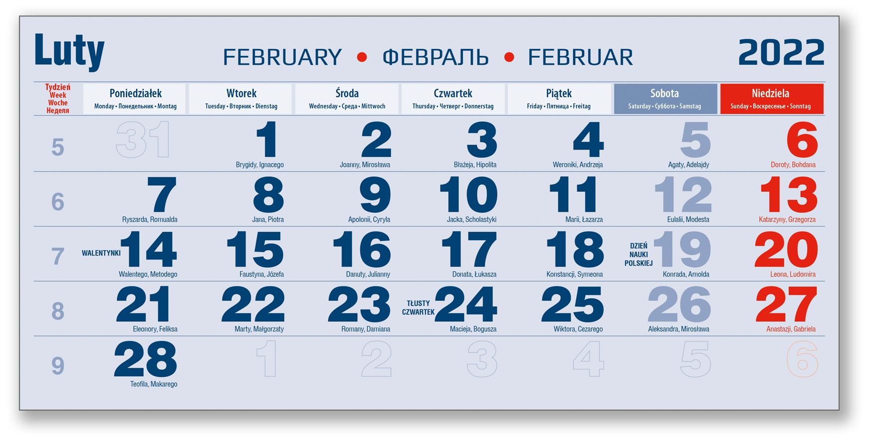 kalendarium trójdzielne 2021 luty