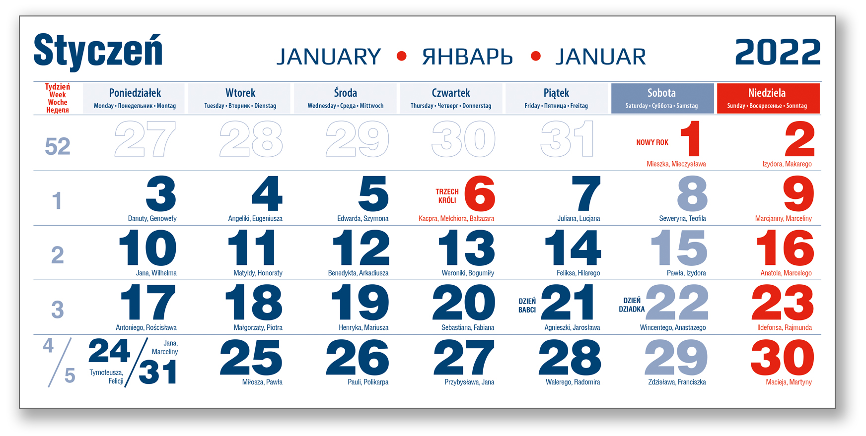 kalendarium trójdzielne niebieskie styczeń